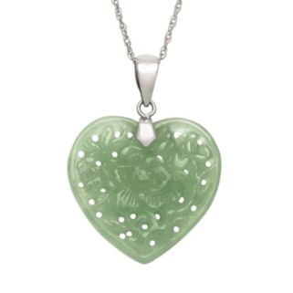 Jade Sterling Silver Heart Pendant Necklace