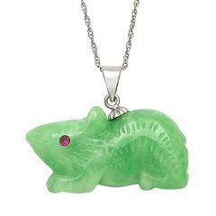 Jade & Lab-Created Zircon Sterling Silver Rat Pendant Necklace