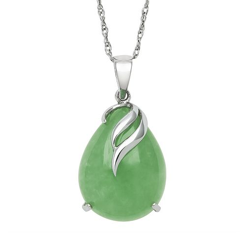 61a4e6340b3459 Jade Sterling Silver Teardrop Pendant Necklace