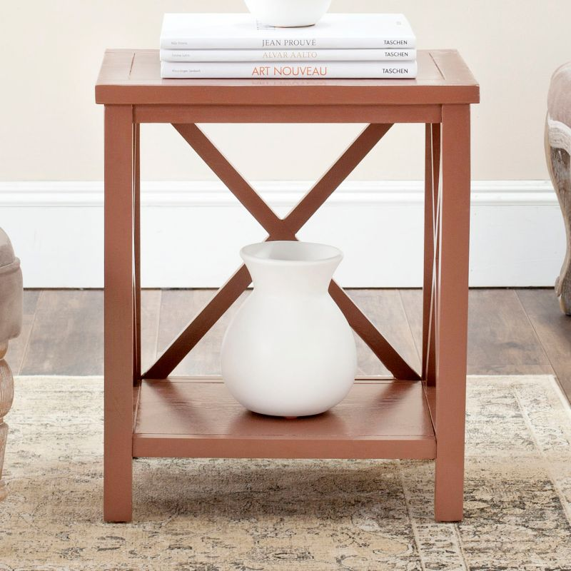Safavieh Candence Cross Back End Table, Brown