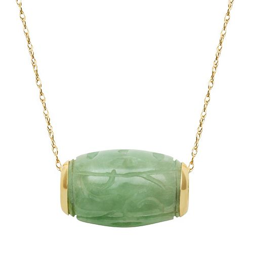 Jade 14k Gold Tube Pendant Necklace
