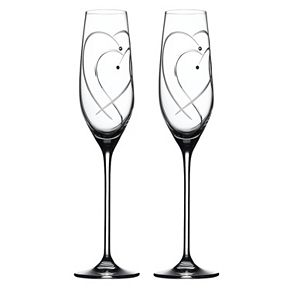 Royal Doulton Two Hearts Entwined Crystal Toasting Flute Set