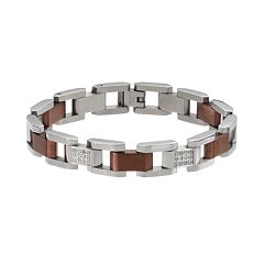 1/2 Carat T.W. Diamond Two Tone Stainless Steel Bracelet - Men