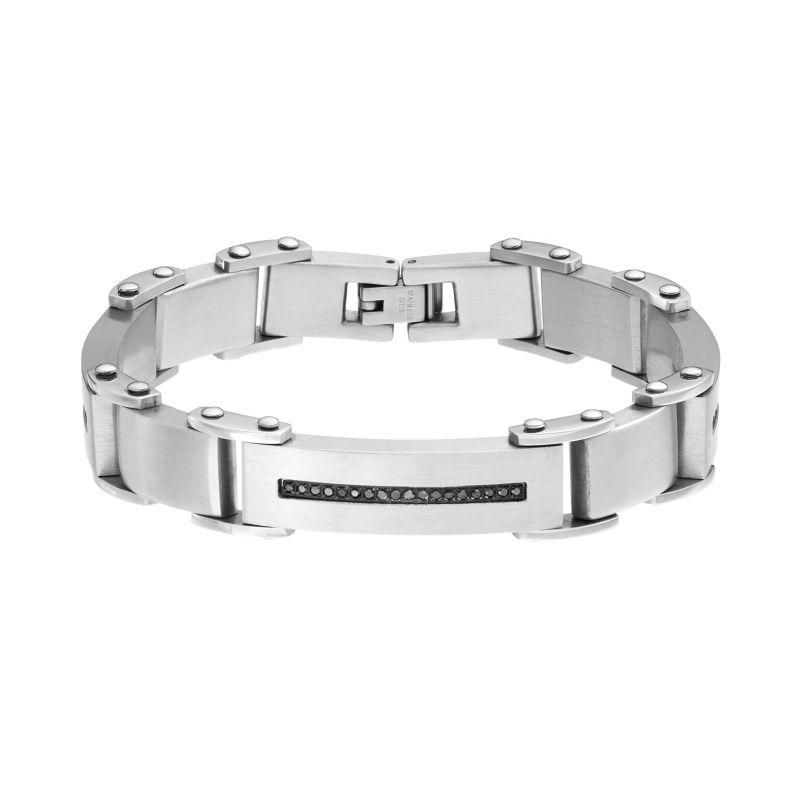 """1/2 Carat T.W. Black Diamond Stainless Steel Bracelet - Men, Size: 8.5"""""""