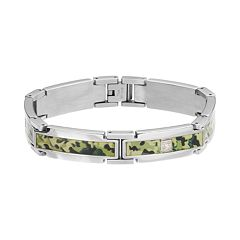 Diamond Accent Stainless Steel Camouflage Bracelet - Men