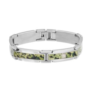 Diamond Accent Stainless Steel Camouflage Bracelet - Men