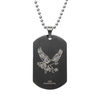 Diamond Accent Two Tone Stainless Steel Cross Dog Tag - Men