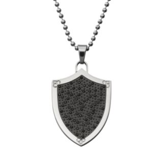 1/2 Carat T.W. Black Diamond Stainless Steel Shield Pendant Necklace - Men