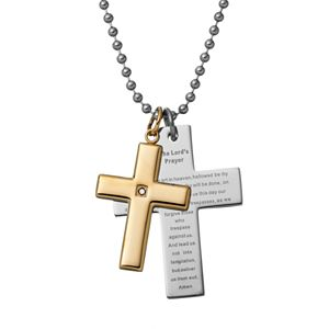 """Black Diamond Accent Two Tone Stainless Steel """"The Lord's Prayer"""" Cross Pendant Necklace - Men"""