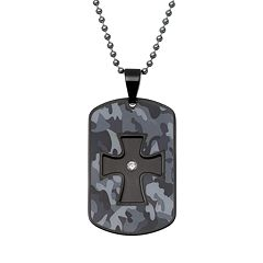 Diamond Accent Two Tone Stainless Steel Camouflage Cross Overlay Dog Tag - Men