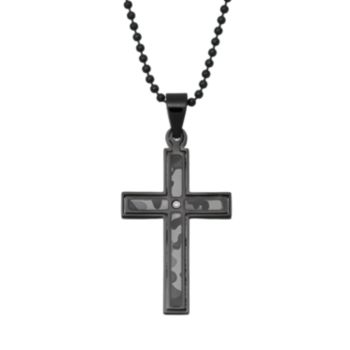Diamond Accent Black Stainless Steel Camouflage Cross Pendant Necklace - Men