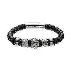 Stainless Steel & Leather Bead Bracelet - Men