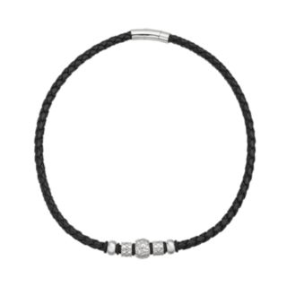 Stainless Steel and Leather Bead Necklace - Men