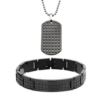 Two Tone Stainless Steel Textured Dog Tag and Bracelet Set - Men