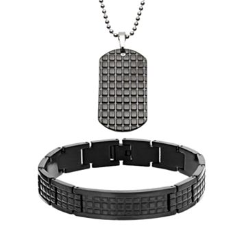 Two Tone Stainless Steel Textured Dog Tag & Bracelet Set - Men
