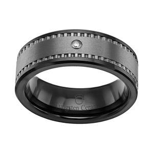 Diamond Accent Black Ceramic and Tungsten Band - Men