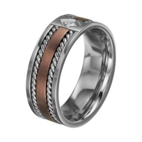Diamond Accent Two Tone Stainless Steel Twist Band - Men