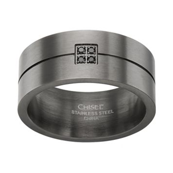 Black Diamond Accent Stainless Steel Stripe Band - Men