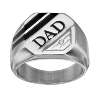 "Diamond Accent Stainless Steel ""Dad"" Ring"