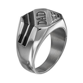 """Diamond Accent Stainless Steel """"Dad"""" Ring"""