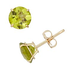 Peridot 10k Gold Stud Earrings