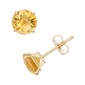 Citrine 10k Gold Stud Earrings
