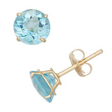 Swiss Blue Topaz 10k Gold Stud Earrings