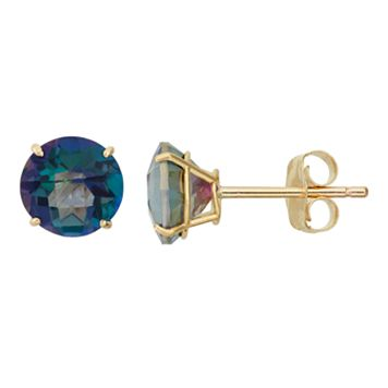 Mystic Topaz 10k Gold Stud Earrings