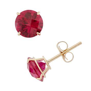 Lab-Created Ruby 10k Gold Stud Earrings
