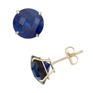Lab-Created Sapphire 10k Gold Stud Earrings