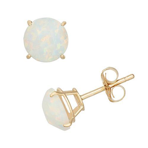 Lab-Created Opal 10k Gold Stud Earrings