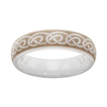 White Ceramic Infinity Band - Men