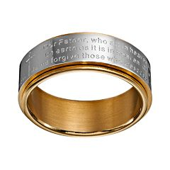 Two Tone Stainless Steel 'The Lord's Prayer' Spinner Band - Men