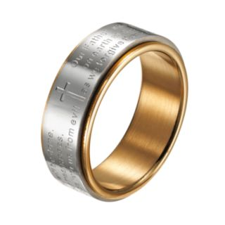 Two Tone Stainless Steel '' The Lord's Prayer'' Spinner Band - Men