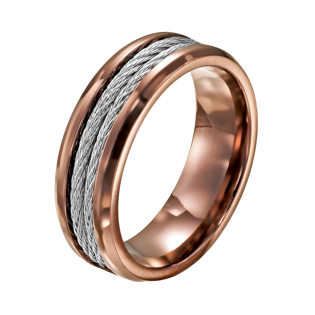 Two Tone Stainless Steel Cable Band - Men