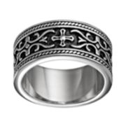 Stainless Steel Cross & Scrollwork Band - Men