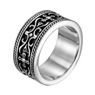 Stainless Steel Cross and Scrollwork Band - Men