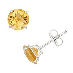 Citrine 10k White Gold Stud Earrings