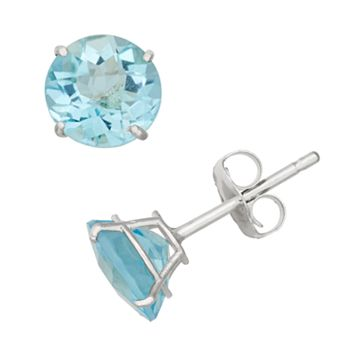 Swiss Blue Topaz 10k White Gold Stud Earrings