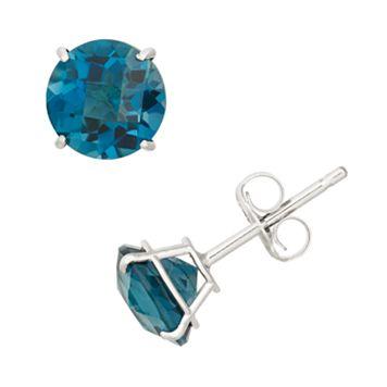 London Blue Topaz 10k White Gold Stud Earrings