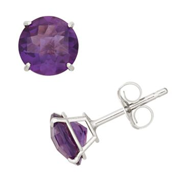 Amethyst 10k White Gold Stud Earrings