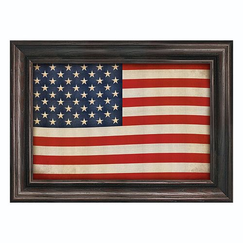 Reflective Art ''Old Glory'' Framed Canvas Wall Art