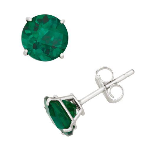 Lab-Created Emerald 10k White Gold Stud Earrings