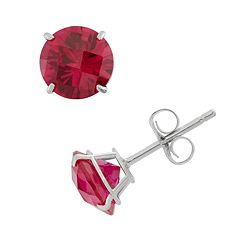 Lab-Created Ruby 10k White Gold Stud Earrings