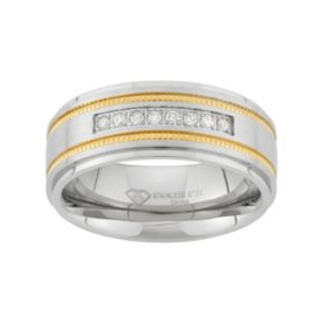 1/6 Carat T.W. Two Tone Stainless Steel Wedding Band - Men