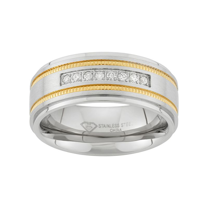 1/6 Carat T.W. Two Tone Stainless Steel Wedding Band - Men, Size: 9, White