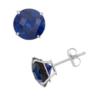 Lab-Created Sapphire 10k White Gold Stud Earrings