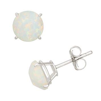 Lab-Created Opal 10k White Gold Stud Earrings