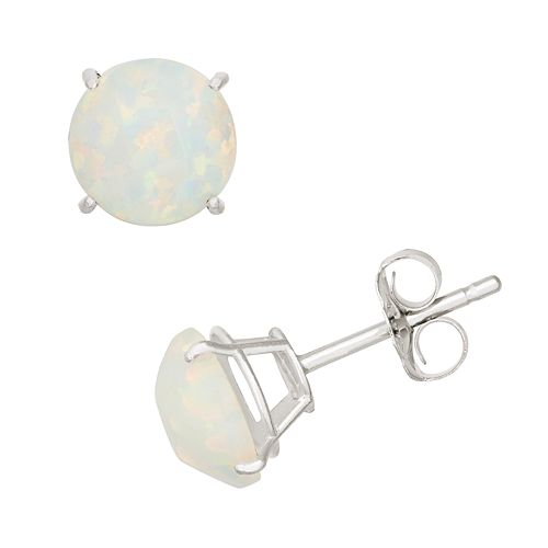 Lab-Created Opal 10k White Gold Stud Earrings