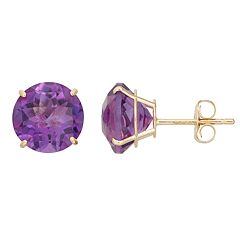 Amethyst 10k Gold Stud Earrings
